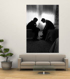 Jack Kennedy Conferring with His Brother and Campaign Organizer Bobby Kennedy in Hotel Suite Premium Wall Mural by Hank Walker