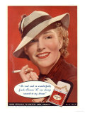 Craven A, Womens Hats Cigarettes Smoking Clothing Clothes, USA, 1936 Prints