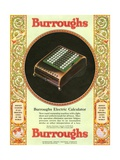 Equipment Burroughs, Adding Machines, Accountants, USA, 1920 Giclee Print