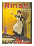 Rinso, Washing Powder Maids Products Detergent, UK, 1910 Giclée-vedos