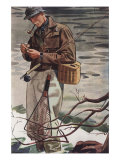 Fishing Smoking Pipes Cigarettes Smoking, USA, 1930 Giclee Print