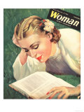 Woman, People Reading Books, Women Magazine, UK, 1942 Giclee Print