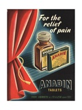 Anadin, Medicine Tablets Medical, UK, 1940 Giclee Print
