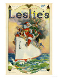 Leslie's, Father Christmas Santa Claus Ships Cruises Magazine, USA, 1914 Art