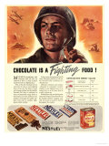 Nestle's, Propaganda Chocolate Sweets WWII Chocolate Is a Fighting Food, USA, 1940 Julisteet