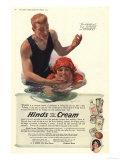 Suntans Sun Hinds Sunburn Swimming Skin Care Swimming Sea Sun Creams Skincare, USA, 1917 Giclee Print