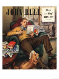 John Bull, Pipes Slippers Dad's Reading Dogs Seeds Father's Day Magazine, UK, 1948 Posters