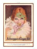 Schweppes, Ginger Ale Art Deco Drinking Masks, UK, 1930 Prints
