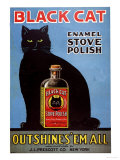 Cats Black Cat Enamel Stove Polish Products, USA, 1920 Lámina giclée