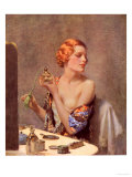 Perfume Woman Doing Her Make-Up, Budoir Putting On Perfume, UK, 1930 Giclee Print