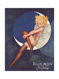 Blue Moon Silk stockings, Womens Glamour Pin-Ups Nylons Hosiery, USA, 1920 Poster