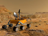 Mars Science Laboratory Travels Near a Canyon on Mars Photographic Print by  Stocktrek Images