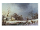 New England Winter Giclee Print by George Henry Durrie
