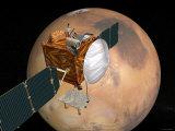 Nasa's Mars Telecommunications Orbiter in Flight around Mars Photographic Print by  Stocktrek Images