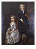 Young Boy Holding a Violin and a Young Girl Holding a Doll Giclee Print by John Vanderbanck