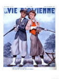La Vie Parisienne, Couples Shooting Guns Hunting Magazine, France, 1936 Giclée-Druck