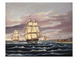 The U.S. Frigate United States and the Captured H. B. M. Frigate Macedonian Off Sandy Hook Giclee Print by Thomas Chambers
