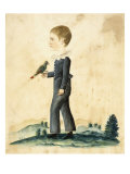 Portrait of a Young Boy with Parrot Giclee Print by Jacob Maentel