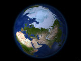 Full Earth Showing the Arctic Region Photographic Print by Stocktrek Images