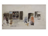Brittany Shop with Shuttered Windows Poster by James Abbott McNeill Whistler