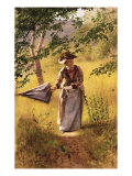 Lady with a Parasol Posters by John George Brown