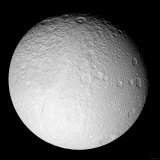 South Pole of Saturn's Moon Tethys Photographic Print by  Stocktrek Images