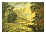 River Landscape. Mid 19th Century Giclee Print by Thomas Chambers