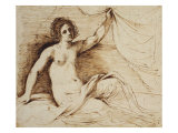 Reclining Nude Woman Lifting a Curtain Giclee Print by Giovanni Francesco Barbieri