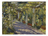 Sun Dappled Garden with Trellis Poster von Colin Campbell Cooper
