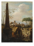 Italianate Landscape with an Obelisk and Archaeologists by Classical Ruins Gicle-tryk af Marco Ricci