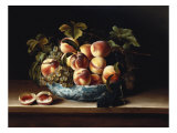 Peaches and Grapes in a Blue and White Chinese Porcelain Bowl Fruit Still Life, 1634 Poster by Louise Moillon