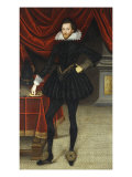Portrait of James Hay 1st Earl of Carlisle Wearing a Black Doublet and Hose Giclee Print by William Larkin