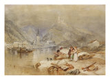Berncastel on the Moselle with the Ruins of Landshut, c.1834 Giclee Print