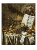 Vanitas Still Life with Musical Instruments, c.1663 Lmina gicle por Evert Collier