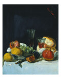 Grapes, Lemons and Pomegranates with White Wine Glasses and Loaf of Bread Prints by George Leslie Hunter