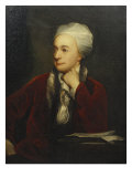 Portrait of William Cowper, Red Coat with a Fur Collar and a White Cap, 18th Century Print by William Henry Jackson