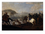 Cavalry Skirmish Giclee Print by Aniello Falcone