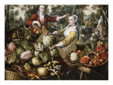 The Four Elements: A Greengrocer's Stall with the Flight Into Egypt Beyond Giclee Print by Joachim Beuckelaer