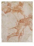 Soldier Running to the Right and Two Mounted Horsemen Their Arms Outstretched Affiches par  Raphael