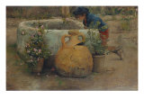 Boy Peering Into a Well, 1889 Giclee Print by Belmiro Barbosa De Almeida