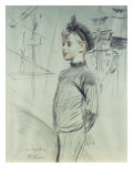 Portrait of a Young Boy in a Sailor Hat and Turtle-Neck Giclee Print by Paul César Helleu