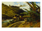 Journey by Steam Train, Paisaje Con Ferrocarril, 1892 Giclee Print by August Lohr