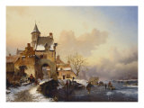 Figures Crossing a Bridge in Frozen Landscape, 1850 Giclee Print by Frederik Marianus Kruseman
