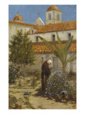 In the Garden, Santa Barbara Mission, 1889 Giclee Print by A. Joullin