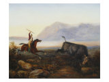 Gaucho Hunting a Bull, 19th Century Prints by Johann Moritz Rugendas