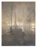 Wet Night, Columbus Circle, New York, 1897-98 Prints by William Frazer
