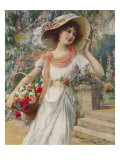 The Flower Girl. Early 20th Century Giclee Print by Emile Vernon