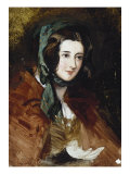 Portrait Study of Lady Harriet Hamilton, Wearing a Red Cape and Green Bonnet, 19th Century Print by Edwin Henry Landseer