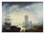 Mediterranean Harbour Scene: Morning, 1745 Kunstdrucke von Claude Joseph Vernet