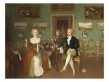 Group Portrait of a Lady and Two Gentlemen Full-Length Seated at a Table Giclee Print by Philip Reinagle